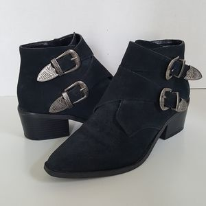 Urban Outfitters Black Leather Buckle Ankle Boots